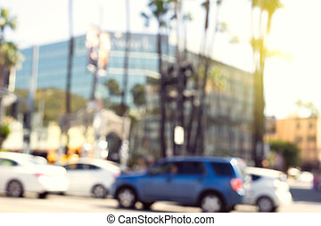 Blur. Hollywood Boulevard, road with cars
