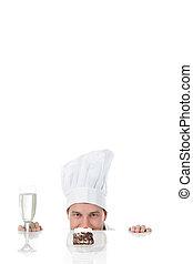 atractivo, joven, caucásico, hombre, Chef,...