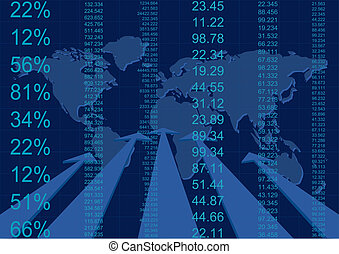 finance report with world map
