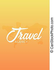 Travel agency poster with map of planet. Vector illustration.