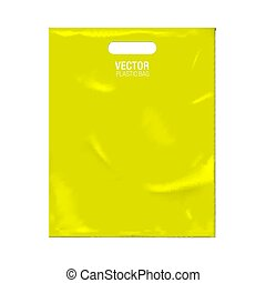 Vector plastic bag template isolated on background. Yellow...