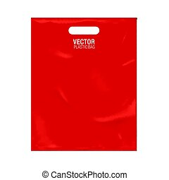 Vector plastic bag template isolated on background. Red...