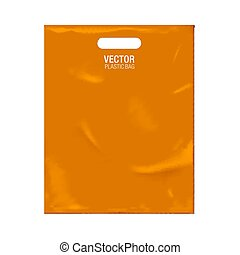 Vector plastic bag template isolated on background. Orange...