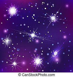 Bright stars and constellations in night sky seamless pattern