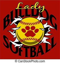 lady bulldog softball team design with ball and paw print...
