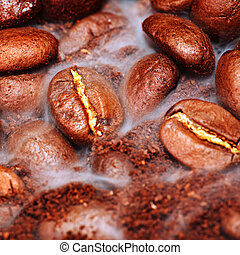 fragrant fried coffee beans with smoke