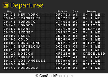International Airport Departures Board - Split flap...