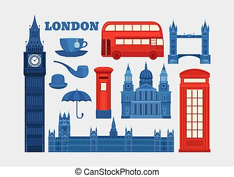Vector set of London. - Set of vector icons London. Sights...