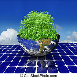 green earth - tree inside the earth on a solar panel and sky