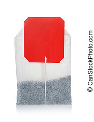 Teabag with red blank label