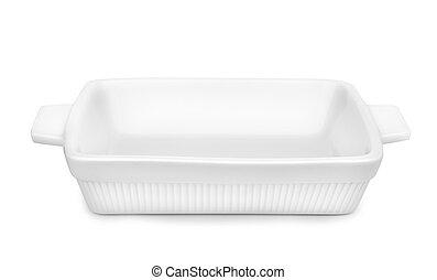 Empty ceramic baking tray