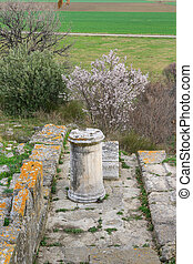 Ruins in Troy Turkey - Ruins in the ancient city of Troy, in...