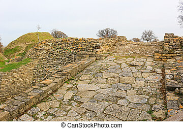 Ruins in Troy Turkey - Ruins in the ancient city of TroyII ,...
