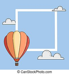 Hot air balloon in blue sky with clouds, frame, copyspace for travel agency, motivation, business development, greeting card, banner, flyer