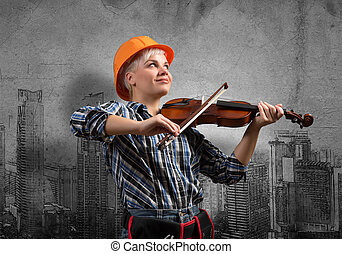 My development plan - Engineer woman playing violin and...