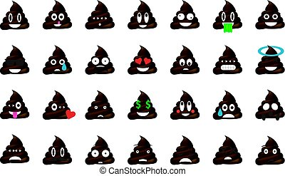 Set of shit emoticon vector isolated on white background....