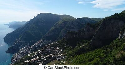 flying above Montepertuso Hole in Mountain near Poistano in...