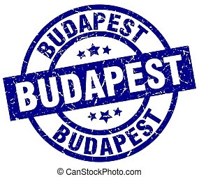 Budapest blue round grunge stamp