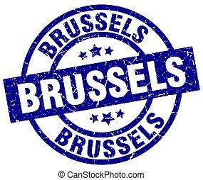 Brussels blue round grunge stamp