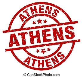 Athens red round grunge stamp