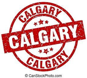 Calgary red round grunge stamp