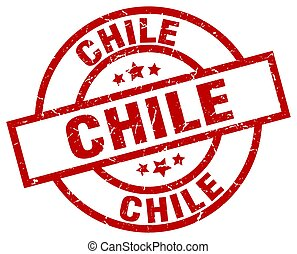 Chile red round grunge stamp