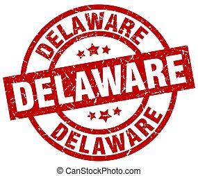 Delaware red round grunge stamp