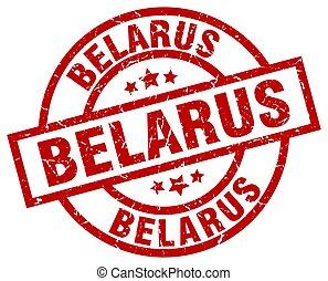 Belarus red round grunge stamp