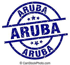 Aruba blue round grunge stamp