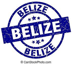 Belize blue round grunge stamp