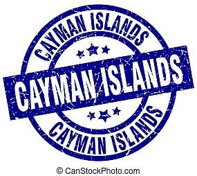 Cayman Islands blue round grunge stamp