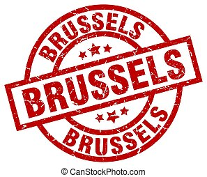 Brussels red round grunge stamp
