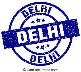 Delhi blue round grunge stamp