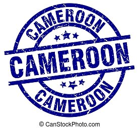Cameroon blue round grunge stamp