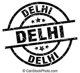 Delhi black round grunge stamp