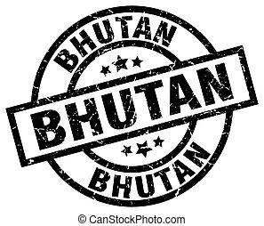 Bhutan black round grunge stamp