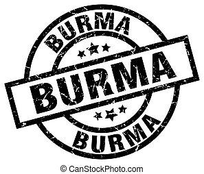 Burma black round grunge stamp