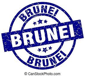 Brunei blue round grunge stamp