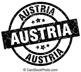 Austria black round grunge stamp