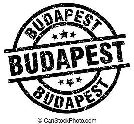 Budapest black round grunge stamp