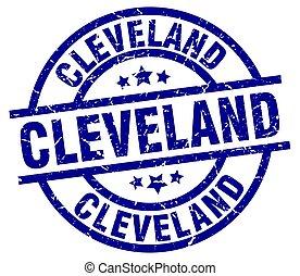 Cleveland blue round grunge stamp
