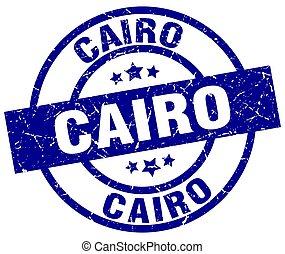 Cairo blue round grunge stamp