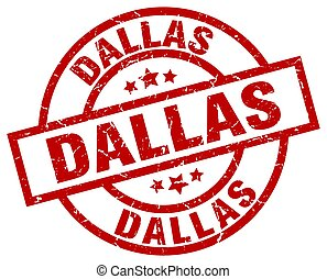 Dallas red round grunge stamp