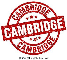 Cambridge red round grunge stamp