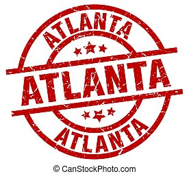 Atlanta red round grunge stamp