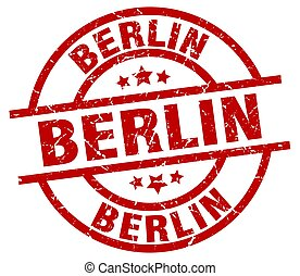 Berlin red round grunge stamp