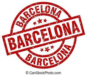 Barcelona red round grunge stamp