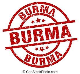 Burma red round grunge stamp