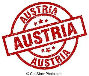 Austria red round grunge stamp