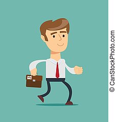 Simple cartoon of a businessman running